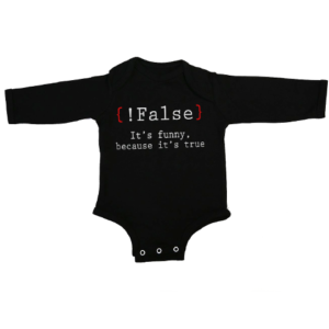 false its funny baby black long sleeve