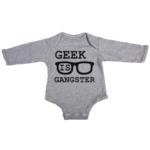 geek is gangster baby grey long sleeve