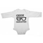 geek is gangster baby white long sleeve