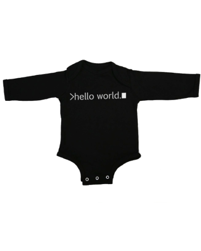 hello world baby black long sleeve