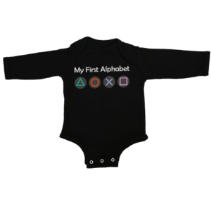 my first alphabet baby black long sleeve