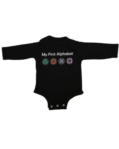 my first alphabet baby black long sleeve