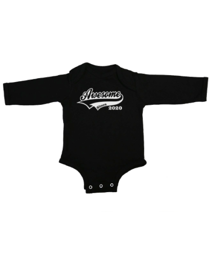 awesome since 2020 baby black long sleeve