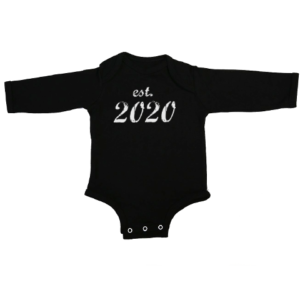 established 2020 baby black long sleeve