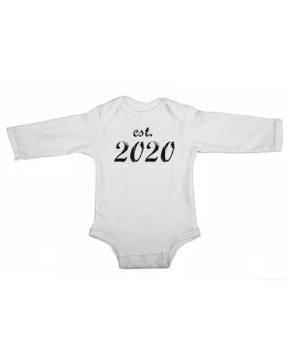 established 2020 baby white long sleeve