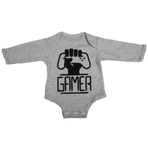 gamers unite baby grey long sleeve