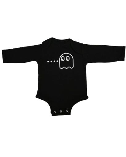 pacman ghost baby black long sleeve