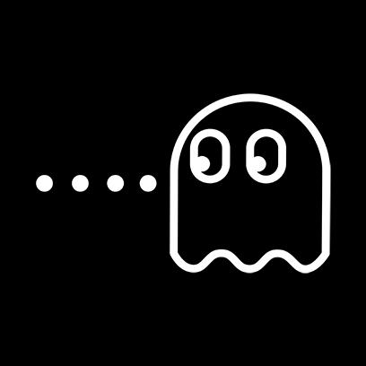 pacman ghost black square