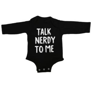 talk nerdy to me baby black long sleeve