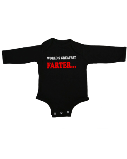 worlds greatest farter baby black long sleeve