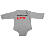 worlds greatest farter baby grey long sleeve