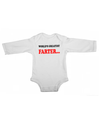 worlds greatest farter baby white long sleeve